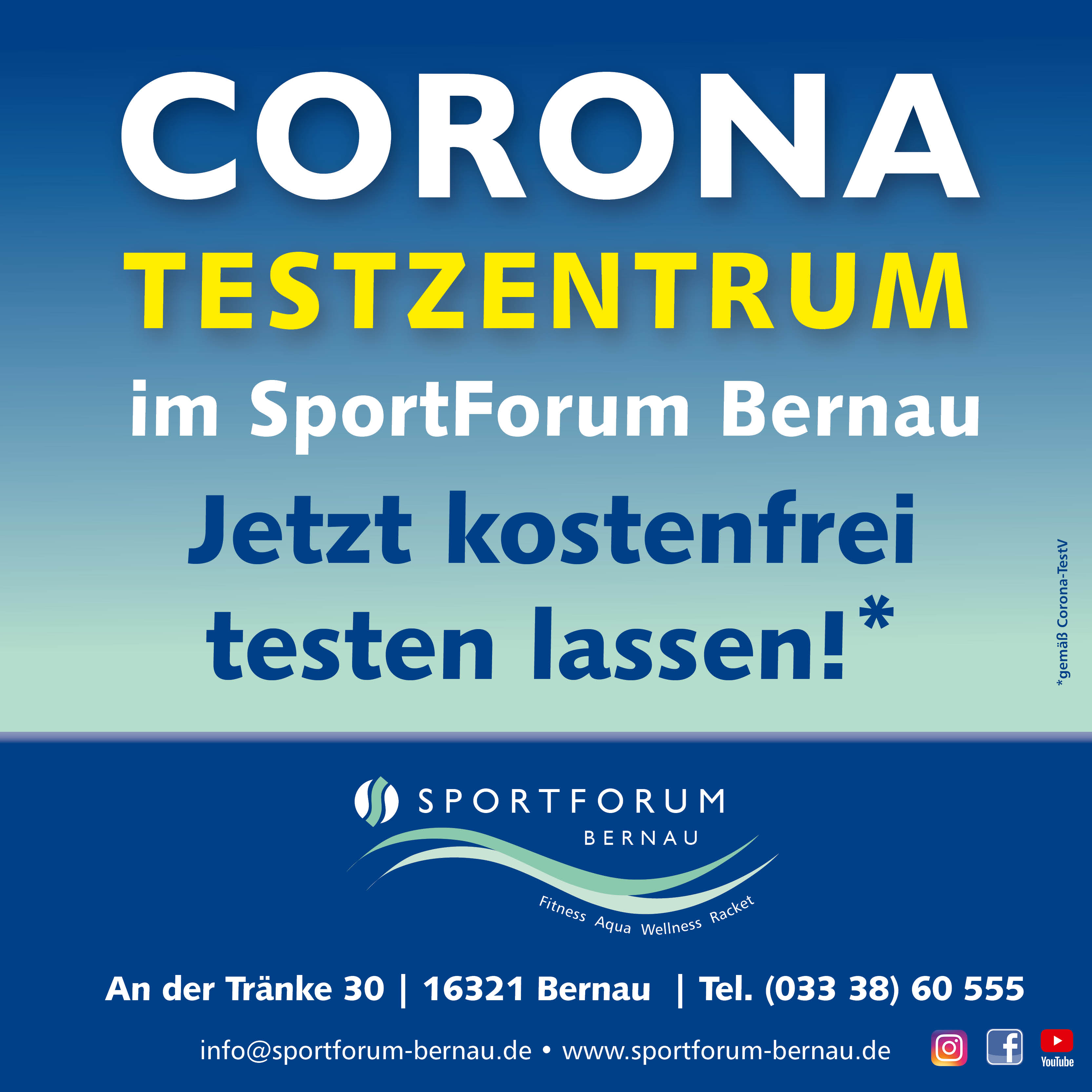 Corona Testzentrum im SportForum Bernau